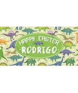 Dinosaur Easter Basket Sticker, Personalized and Waterproof Dinosaur Sti... - $3.25+