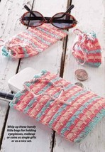 W855 Crochet PATTERN ONLY Accessory Pouches Makeup Glasses Coins Patterns - $6.45