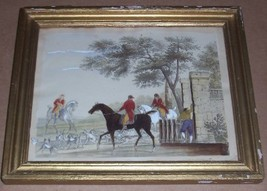 RARE HAND COLORED ENGLISH FOXHOUND LITHO FRENCH PRINT - $289.49