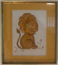 RARE HAND SIGNED LOIS KELLOGG LION PAINTING KANSAS ART - $191.64