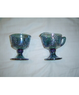 Iridescent Indiana Blue Carnival Glass Harvest Grape pattern Sugar and ... - $14.95