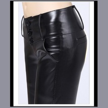 Black Faux PU Leather Jean Button Up Low Waisted Pants w/ Wide Belt Band   image 1