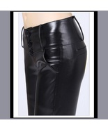Black Faux PU Leather Jean Button Up Low Waisted Pants w/ Wide Belt Band   - $72.95