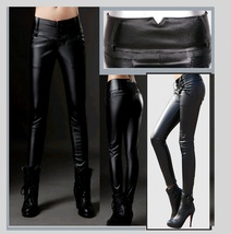Black Faux PU Leather Jean Button Up Low Waisted Pants w/ Wide Belt Band   image 2