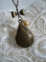 SUNFLOWER Teardrop Floral Locket Necklace - $23.00