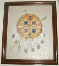 RARE LYDIA COOPER NATIVE INDIAN SHIELD & SPEAR PAINTING - $177.75