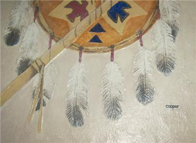 RARE LYDIA COOPER NATIVE INDIAN SHIELD & SPEAR PAINTING
