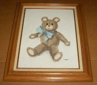 RARE LYDIA COOPER TEDDY BEAR MIXED MEDIA PAINTING