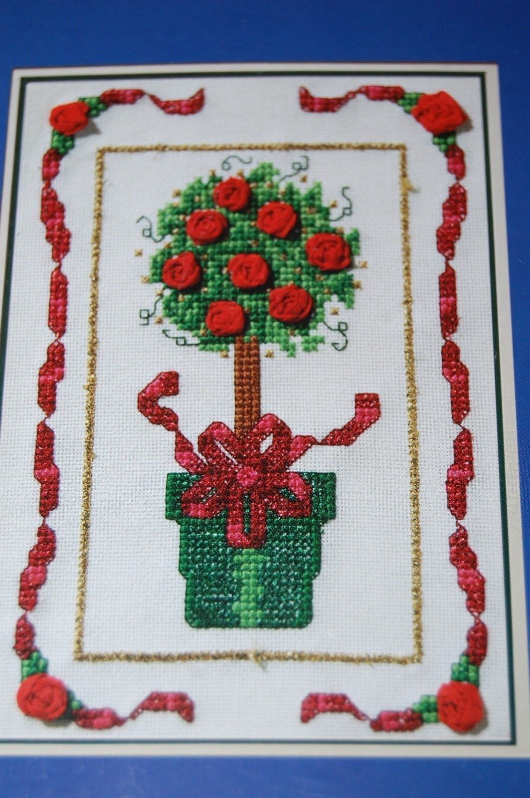The Spirit Of Christmas Topiary Tree Counted Cross Stitch Ribbon Kit