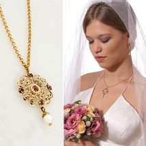 Bridal Wedding Victorian Vintage Gold Chain Crystal Pearl Necklace Jewel... - $45.54