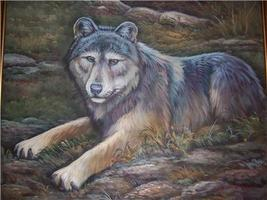 RARE & ORIGINAL WOLF OIL PAINTING BY MICHALPRET - $483.53