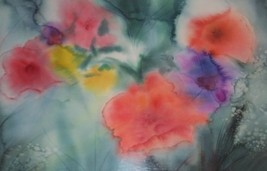 "RARE PEGGO CROMER ""DREAM FLOWERS"" WATERCOLOR PAINTING - $3,448.51"