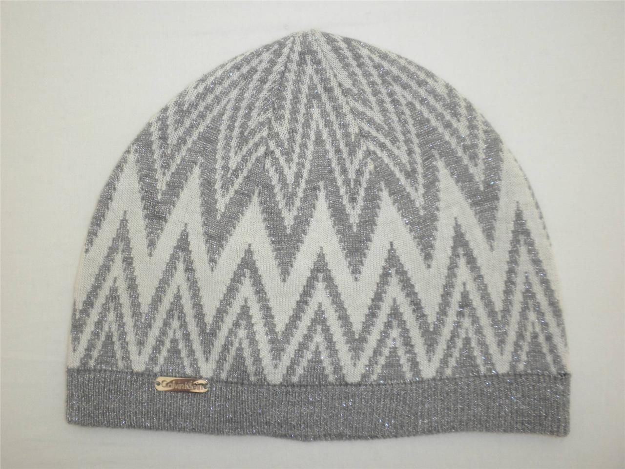 b26a480ec1c Calvin Klein Beanie Hat Metallic Silver   White Chevron Zig Zag Pattern  40  NEW -  13.86