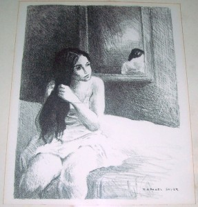 "RARE RAPHAEL SOYER ""UNTITLED/ WOMAN SITTING ON A BED"" LITHOGRAPH  PRINT"