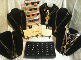 {☆}✔{☆}70 PcMIXED JEWLERY-LOT~RINGS/EARRINGS/GEMSTONE&CAB NECKLACES+GOLD... - $52.07