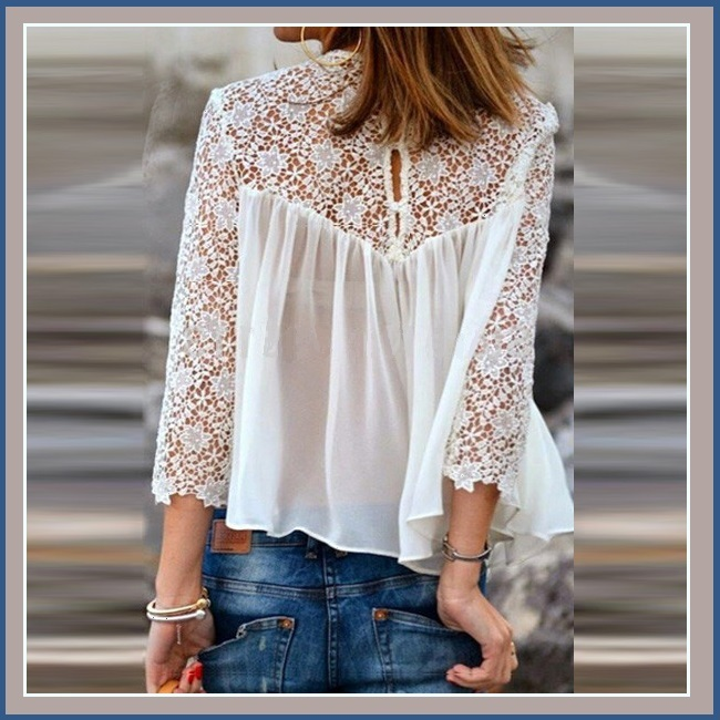 Black or White Spliced Crochet Lace Chiffon Long Sleeved Top Loose Blouse