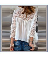 Black or White Spliced Crochet Lace Chiffon Long Sleeved Top Loose Blouse - $32.95