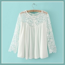 Black or White Spliced Crochet Lace Chiffon Long Sleeved Top Loose Blouse image 2