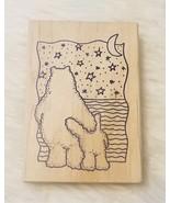 Jeri Hauth Imagine Rubber Works Stamp Bears, Moon & Stars NEW - $5.14