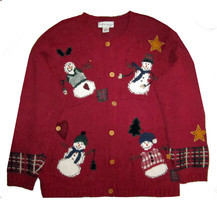 NWT Croft & Barrow Red Cardigan Ugly Christmas Sweater 1X - $32.88