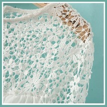 Black or White Spliced Crochet Lace Chiffon Long Sleeved Top Loose Blouse image 3