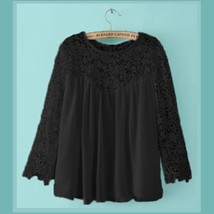 Black or White Spliced Crochet Lace Chiffon Long Sleeved Top Loose Blouse image 4