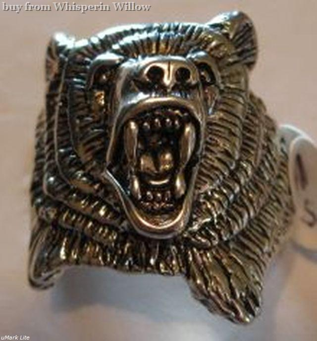 Bear In Hing Reng 2: Sterling Silver Bear Head Biker Ring 12
