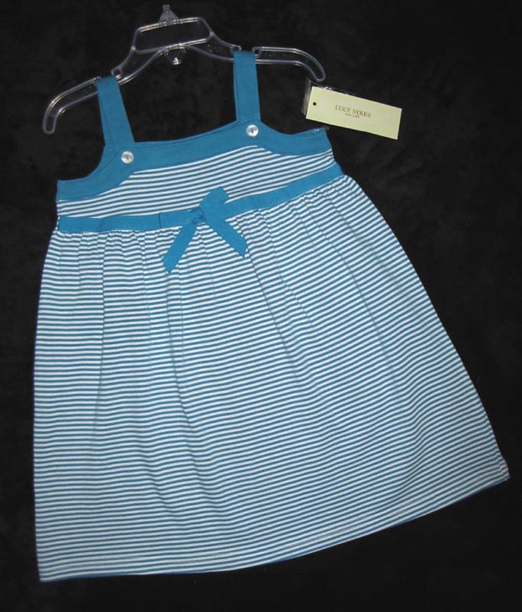 Girls 3t   lucy sykes   aqua   white designer sundress  1