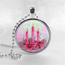 CHRISTMAS CANDLES Necklace, Pink Christmas, Kitsch, Retro, Christmas Nec... - $9.95