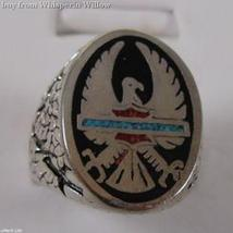 Sterling Silver Phoenix with Inlayed Stone Biker Ring 8 - $19.95