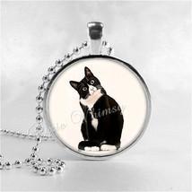 TUXEDO CAT Necklace, Cat Necklace, Cat Pendant, Cat Jewelry, Cat Charm, ... - $9.95