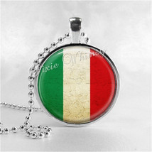 ITALY FLAG Necklace, Italian Flag Necklace, Glass Photo Art Necklace, Italy, Ita - $9.95