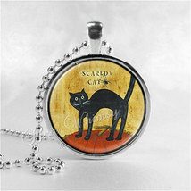 BLACK CAT Necklace, Scaredy Cat, Primitive, Prim, Country Style, Halloween Neckl - $9.95