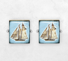 SAILBOAT Scrabble Tile Cufflinks, Cuff Links, Nautical Cufflinks, Yacht,... - $18.95
