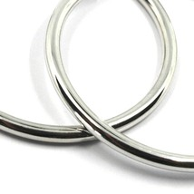 18K WHITE GOLD ROUND CIRCLE EARRINGS DIAMETER 30 MM, WIDTH 3 MM, MADE IN ITALY image 2