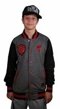 Famous Stars & Straps JS Thunder Charcoal Red Varsity Letterman Jacket