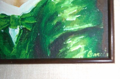 RARE SIGNED GARCIA PORTRAIT OF A LATINO WOMAN PAINTING