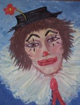Rare Signed Germain Circus Clown Portrait Oil Painting - $289.14