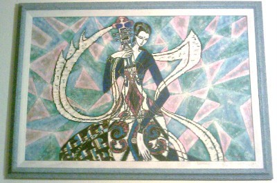 RARE SIGNED  H. CANSDALE ACRYLIC ABSTRACT ART PAINTING