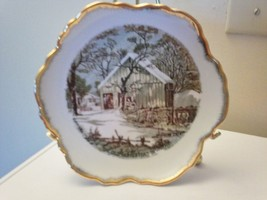 "CURRIER & IVES ""THE OLD HOMESTEAD IN THE WINTER"" COLLECTABLE PLATE THE BARN - $5.14"