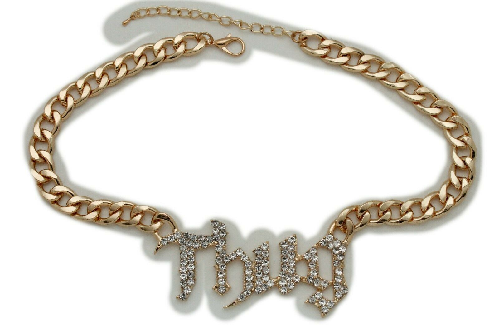 Chic Femme Métal or Sexy Hip Hop Mode Bling Argent Collier Thug Pendentif image 2
