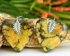 Vintage Heart Earrings Pierced Dangles Handcrafted Yellow Variegated - $18.95