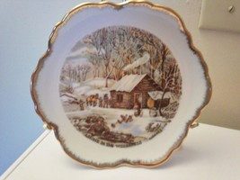 "CURRIER & IVES ""A HOME IN THE WILDERNESS"" COLLECTABLE PLATE CABIN & FAMILY - $5.14"
