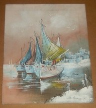 RARE SIGNED N. VANGEEN SHIP BOATS HARBOR ART PAINTING - $386.99
