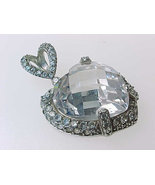 HEART Cubic Zirconia Vintage PENDANT in STERLING - 1 1/4 inches - Great Sparkle - €55,46 EUR