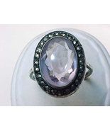AMETHYST Vintage RING in STERLING Silver with M... - $75.00