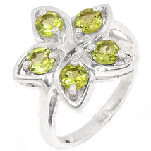 Sale, Beautiful Peridot and 925 Silver Ring, Size 9 or R 1/2 - $26.00