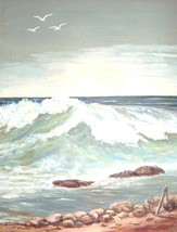 RARE TIGJO P. PRICE SEASCAPE OIL PAINTING AMERI... - $1,150.89