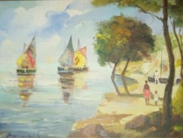 RARE VINTAGE SIGNED CARIBBEAN BEACH SCENE OIL PAINTING - $4,145.99