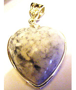 WHITE  TURQUOISE HEART SHAPED PENDANT WITH LARGE BAIL TIBETAN SILVER SET... - $6.79